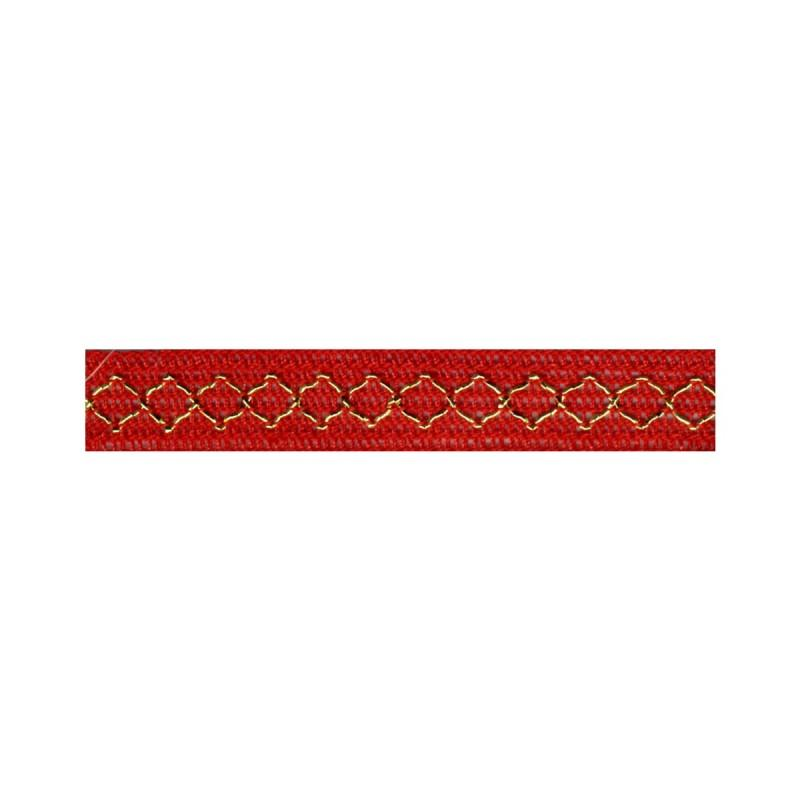 Gold Thread Diamond Trim Red 08