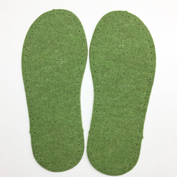 Green Felt Slipper Soles Adult UK 1-2 (Eur 34-35)
