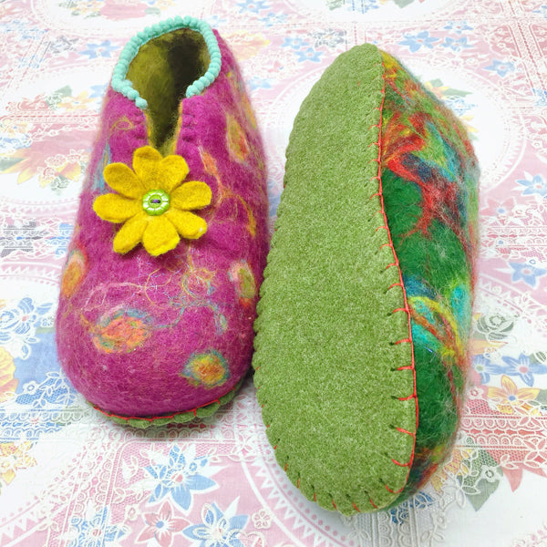 Green Felt Slipper Soles Kids UK 6-7 (Eur 26-27)