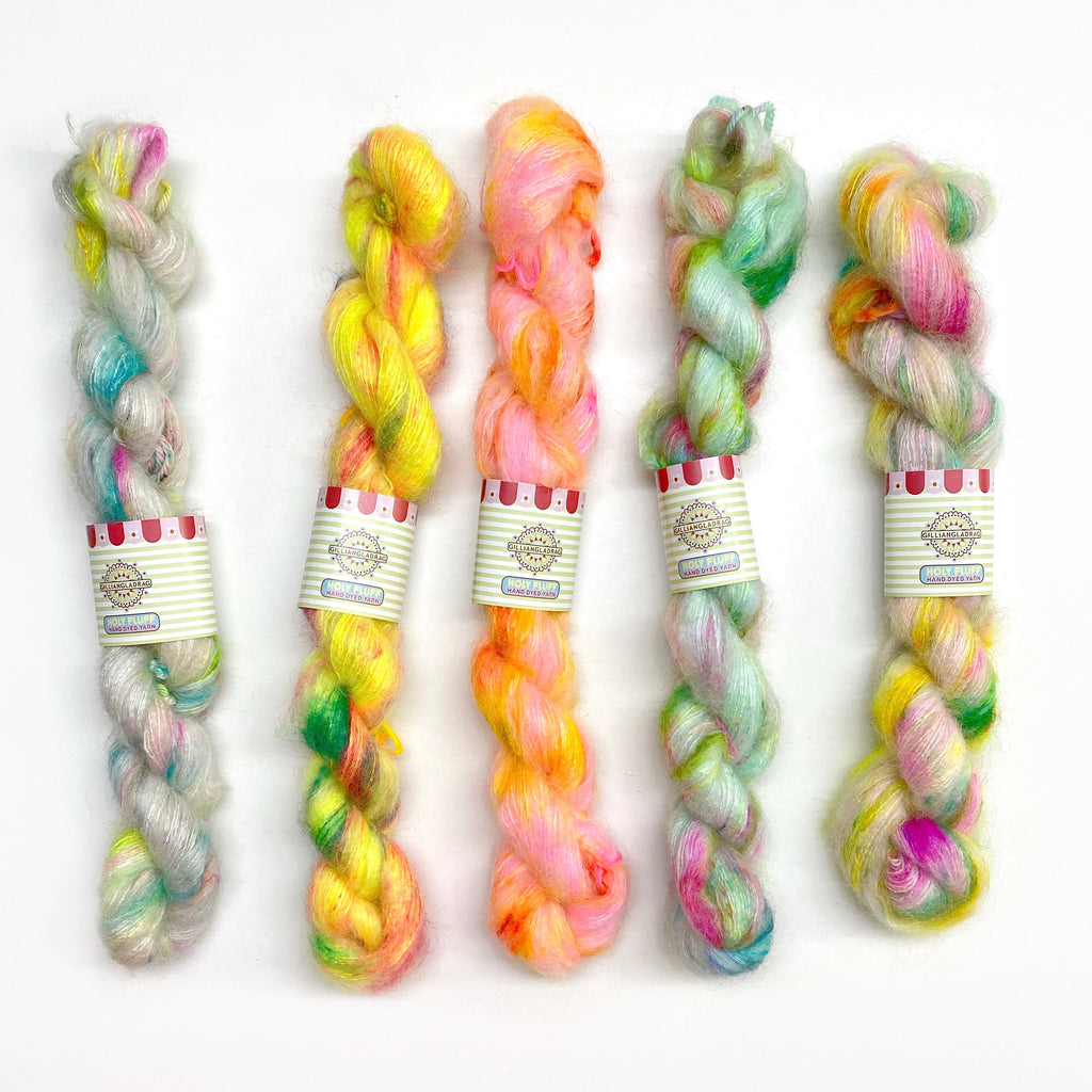 Holy Fluff Hand Dyed Kid Silk Lace FADE SET 5 x 20g : 'Groove is in the Heart'