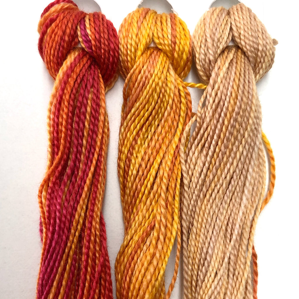 Hand Dyed Perle 8 threads x 3 Autumn