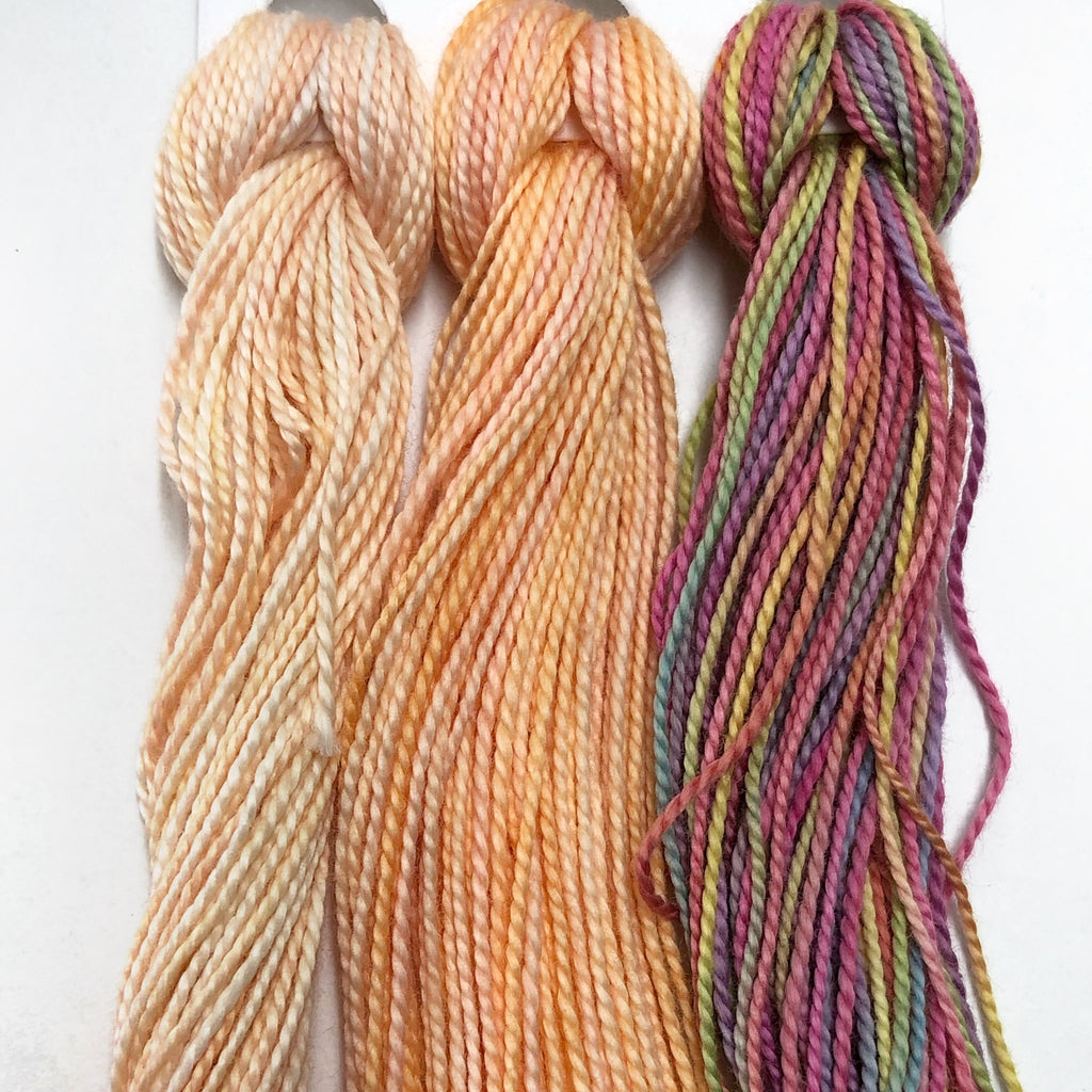 Hand Dyed Perle 8 threads x 3 Blossom