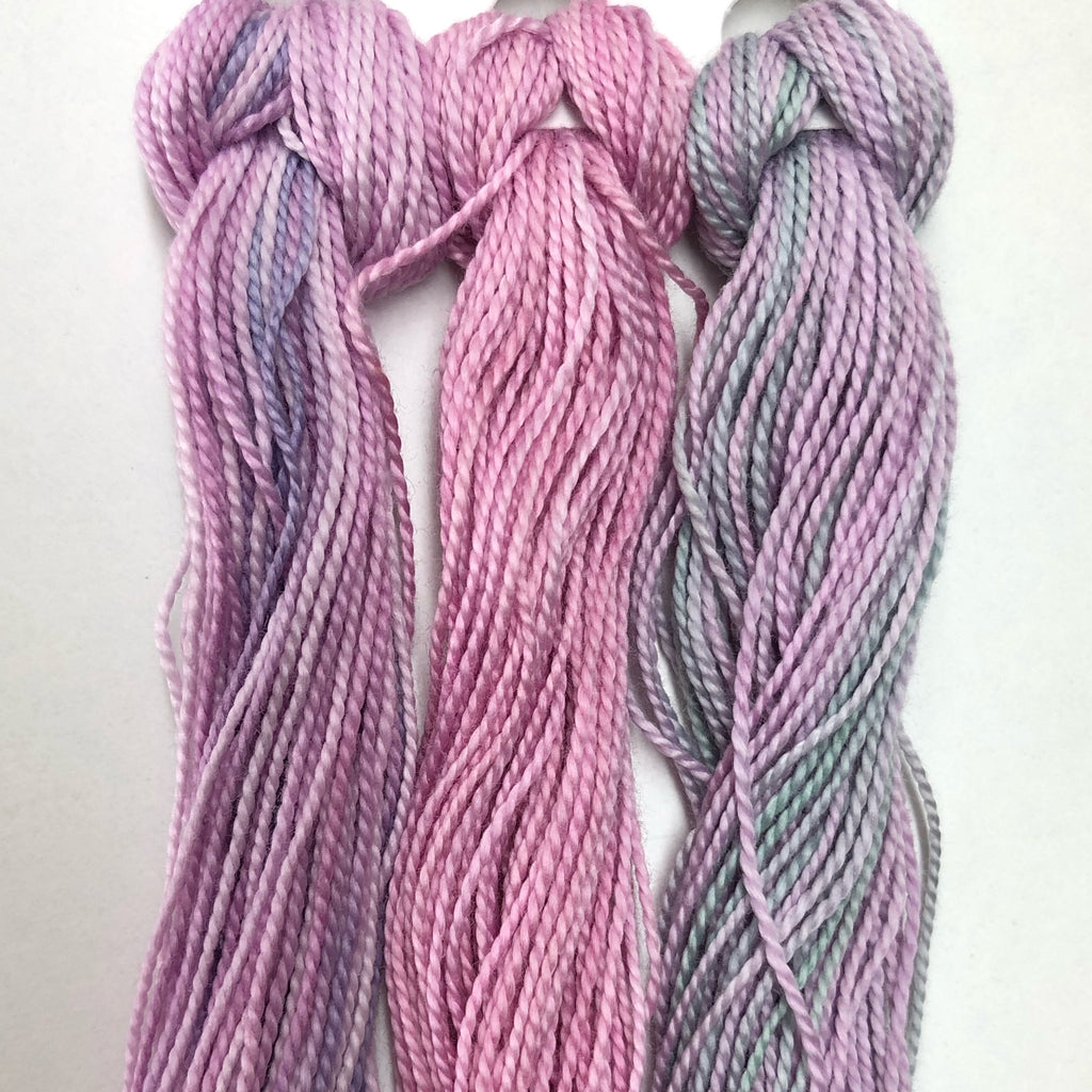 Hand Dyed Perle 8 threads x 3 Pansy
