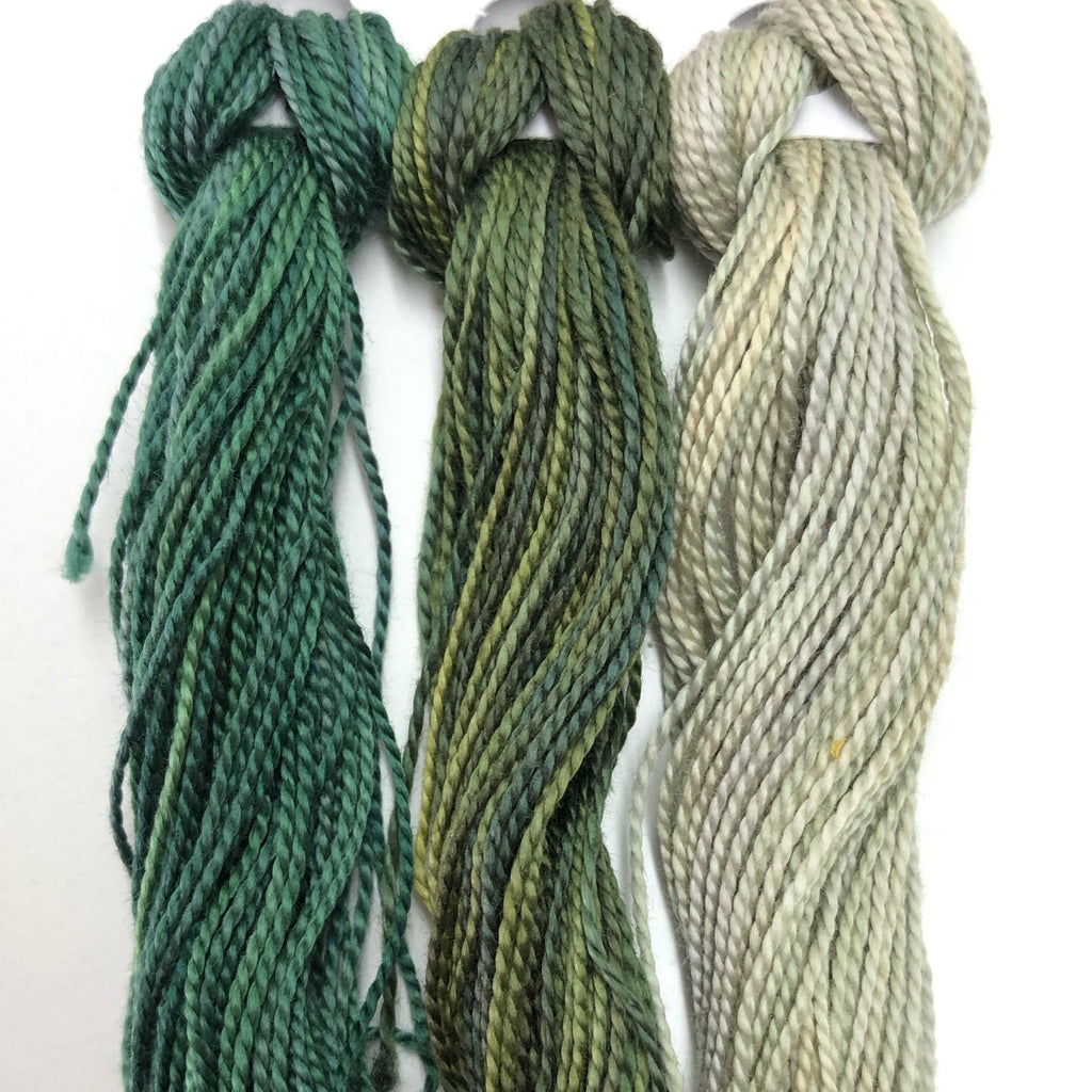 Hand Dyed Perle 8 threads x 3 Moss