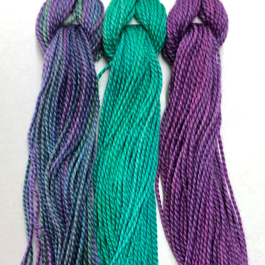 Hand Dyed Perle 8 threads x 3 Peacock