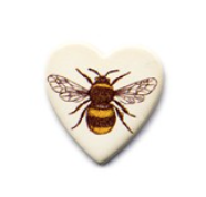 Handmade Ceramic Brooch : Bee heart