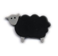 Handmade Ceramic Brooch : Black Sheep