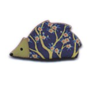 Handmade Ceramic Brooch : Blue / Green Hedgehog