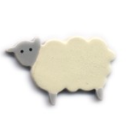Handmade Ceramic Brooch : Cream Sheep