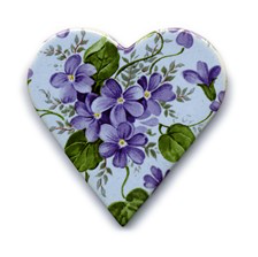 Handmade Ceramic Brooch : Large Floral Heart Forget Me Knots