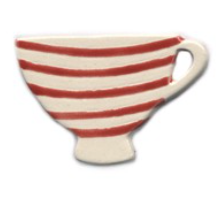 Handmade Ceramic Brooch : Red Striped Tea Cup