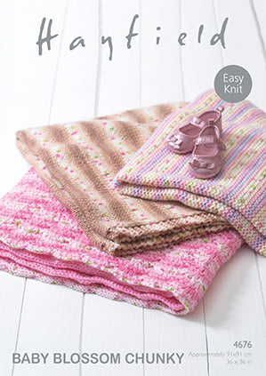 Hayfield Baby Blossom Chunky Knitting Pattern 4676 Blankets