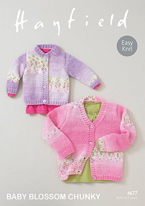 Hayfield Baby Blossom Chunky Knitting Pattern 4677 Cardigans