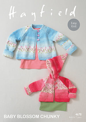 Hayfield Baby Blossom Chunky Knitting Pattern 4678 Coats (D)