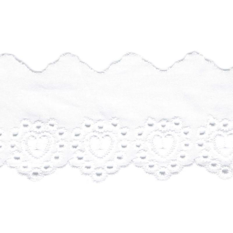 Heart Embroidery Anglaise 53mm Scalloped White 01