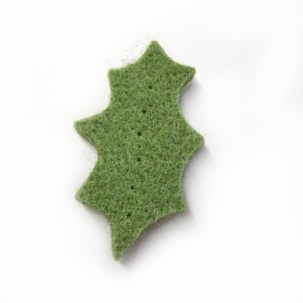 Wool Felt Holly Leaf 6cm Green