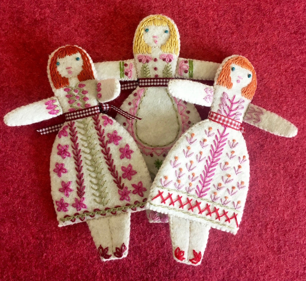 Three Little Folk Dolls Embroidery Kit