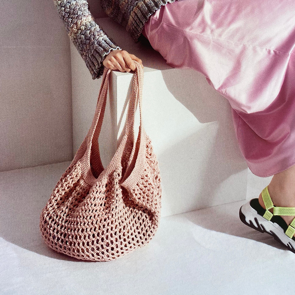 Rico Creative Cotton Aran Knitting Pattern String Style Eco Bag 1022