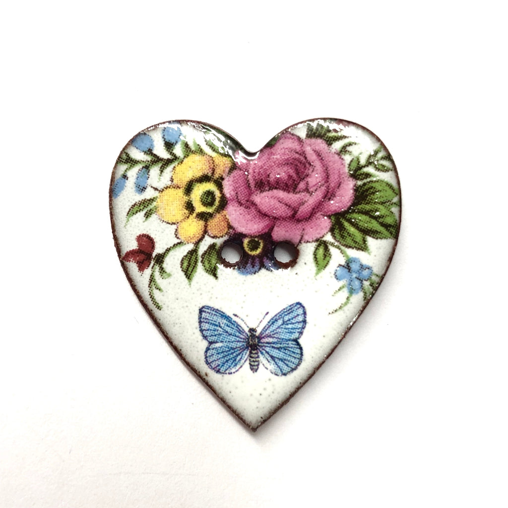 Handmade Ceramic Button Floral Heart with Butterfly Large