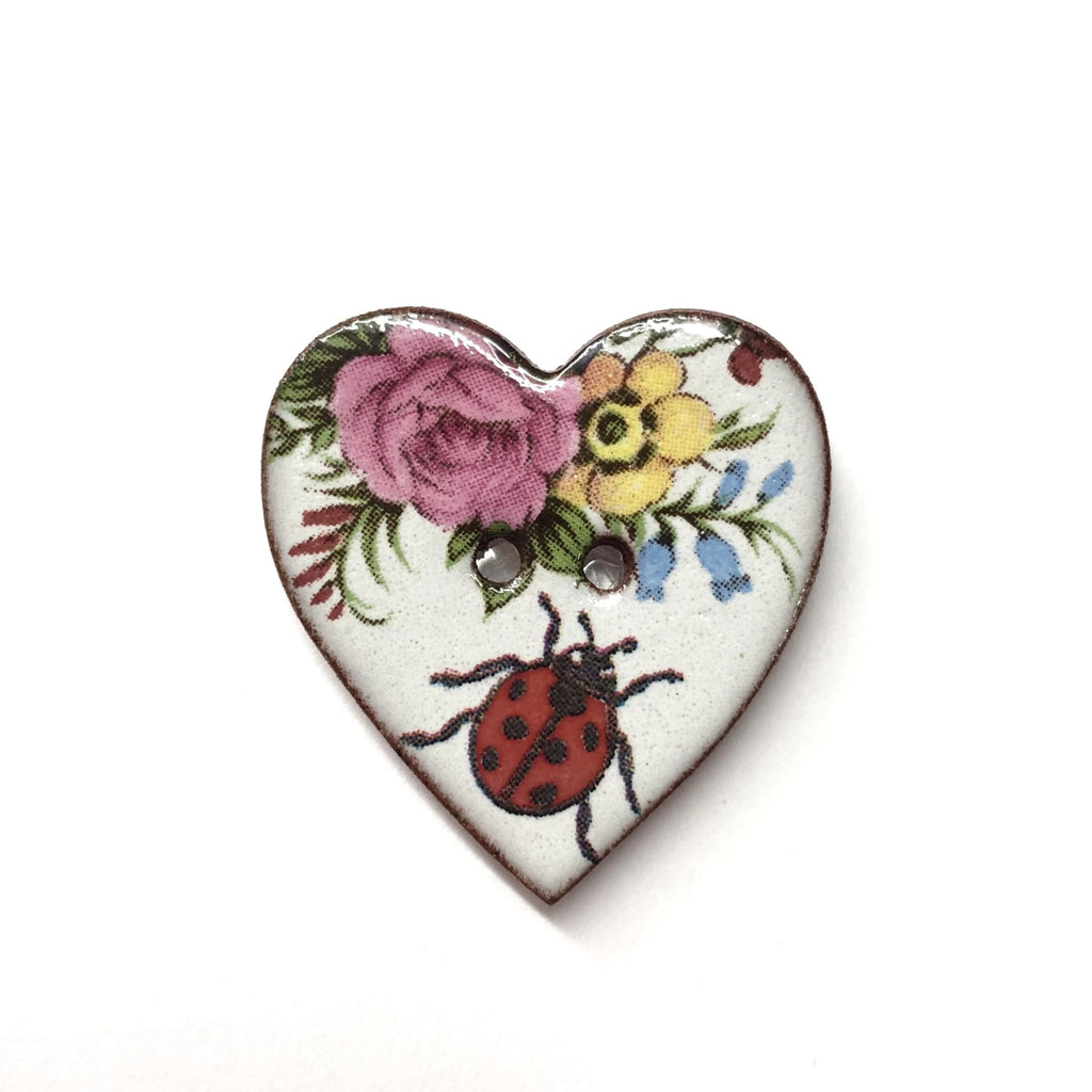 Handmade Ceramic Button Floral Heart with Ladybird Large