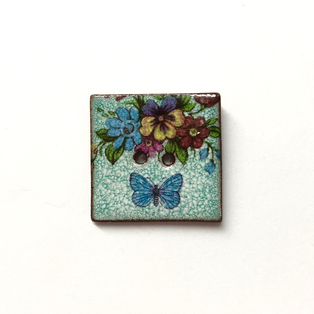 Handmade Ceramic Button Turquoise Floral with Butterfly : Square