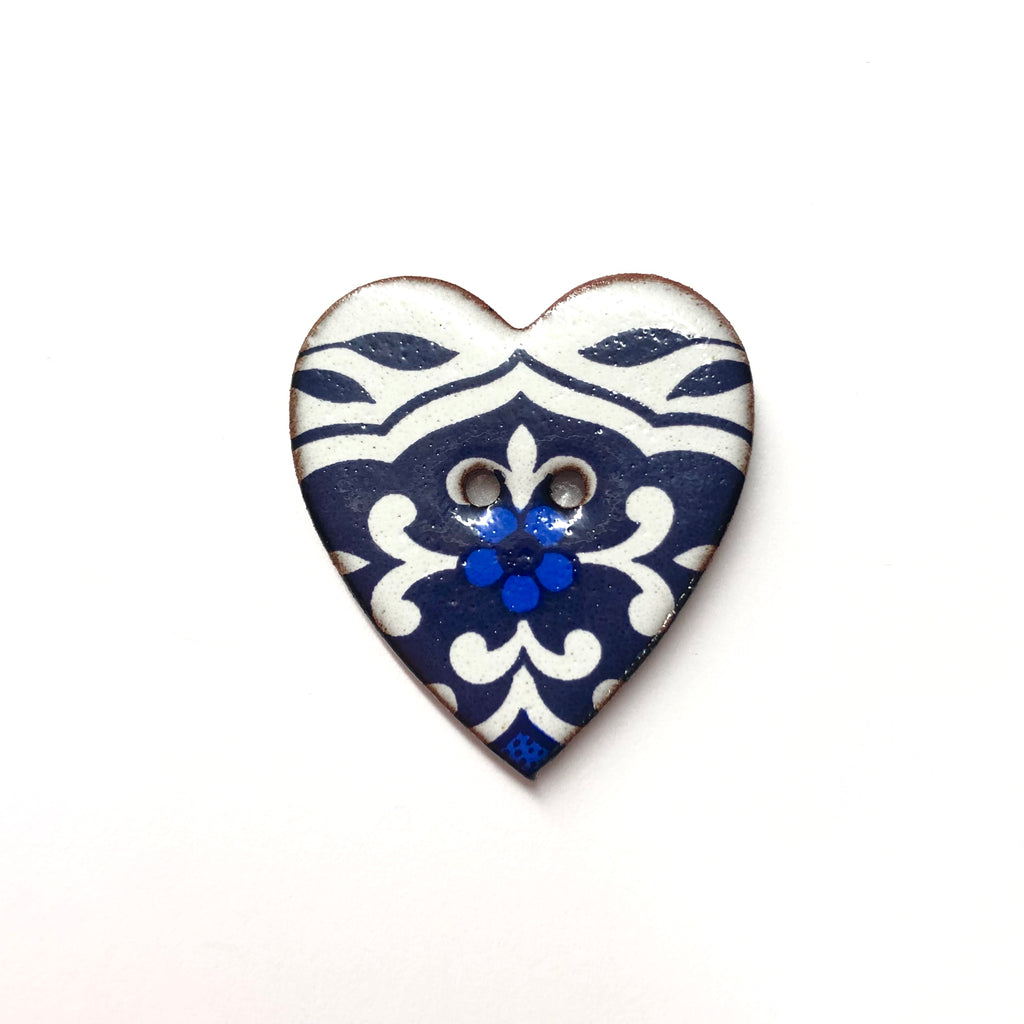 Handmade Ceramic Button Floral Heart Willow Pattern with Blue Flower