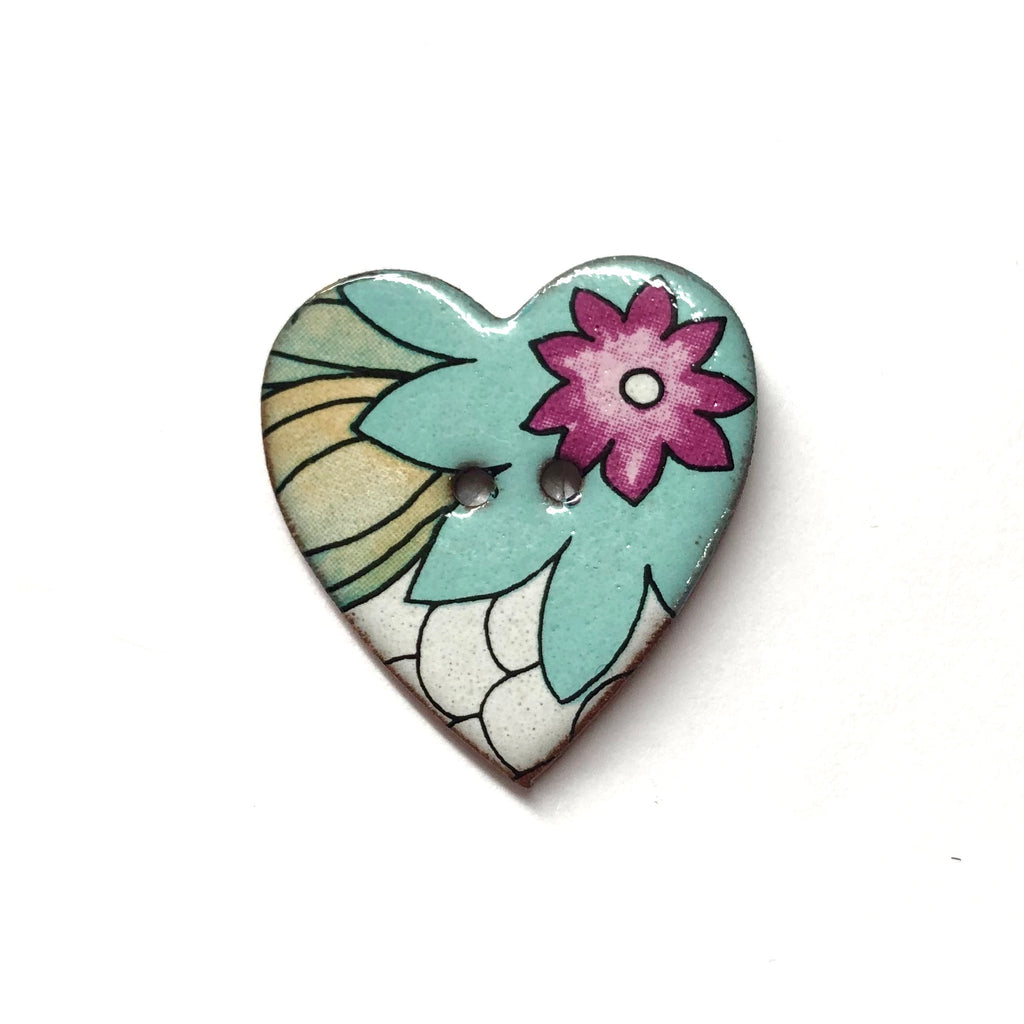 Handmade Ceramic Button Heart with 60s flowers
