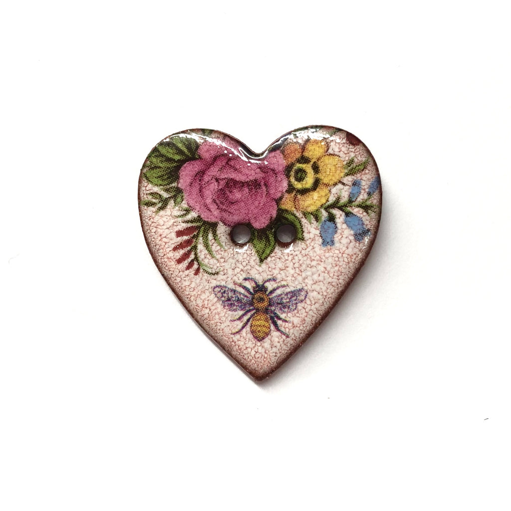 Handmade Ceramic Button Heart with Florals and Bee