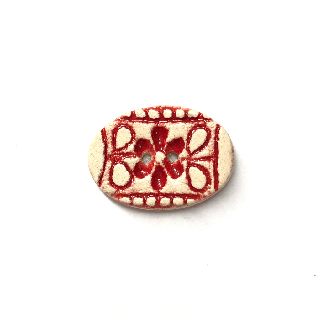 Handmade Ceramic Button Red Flower on White Oval : Small