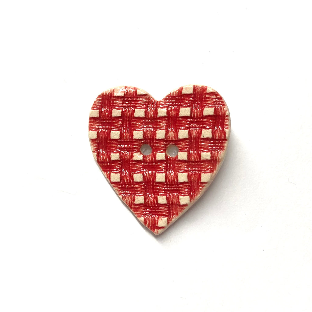 Handmade Ceramic Button Stamped Red Gingham Check Large