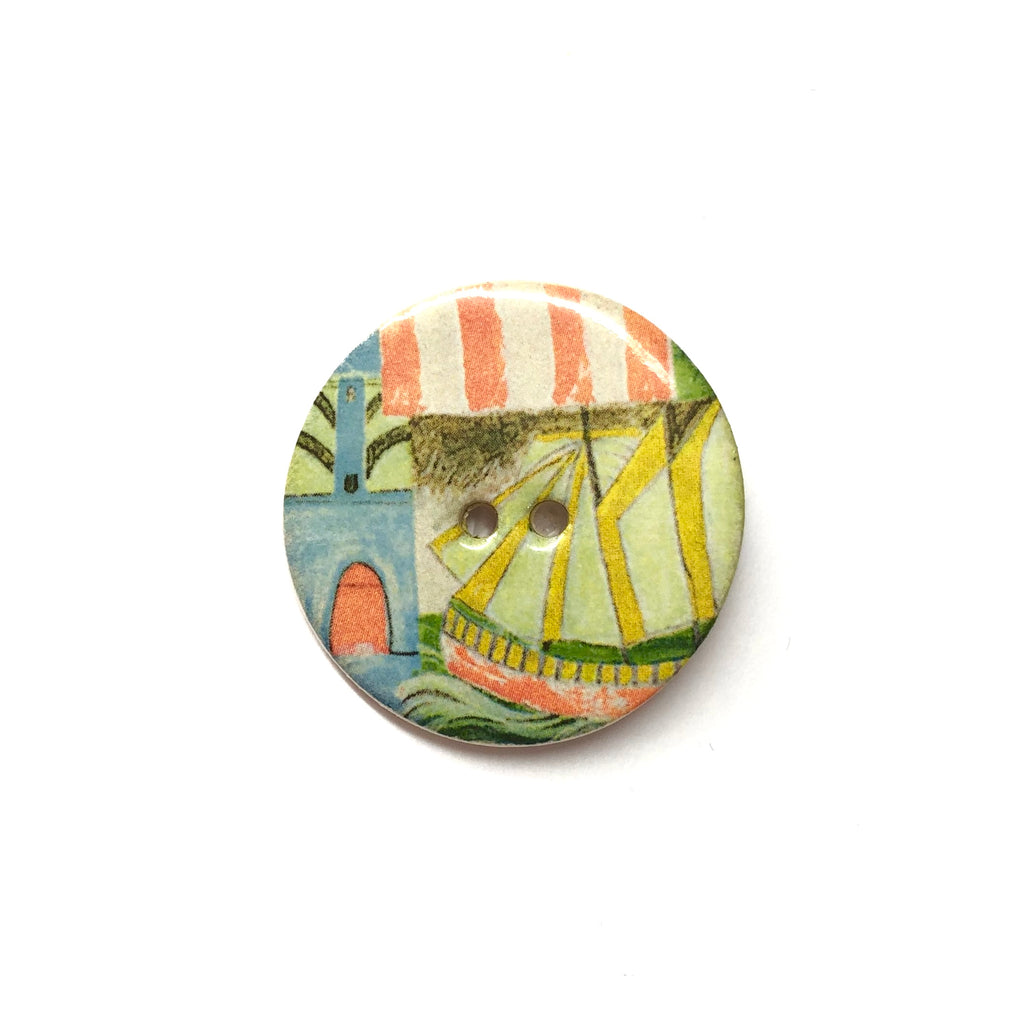 Handmade Ceramic Button Round (Warner Archive) Ship with Red Stripes Large