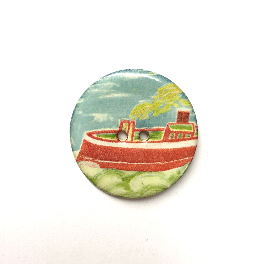 Handmade Ceramic Button Round (Warner Archive) Red Boat Large