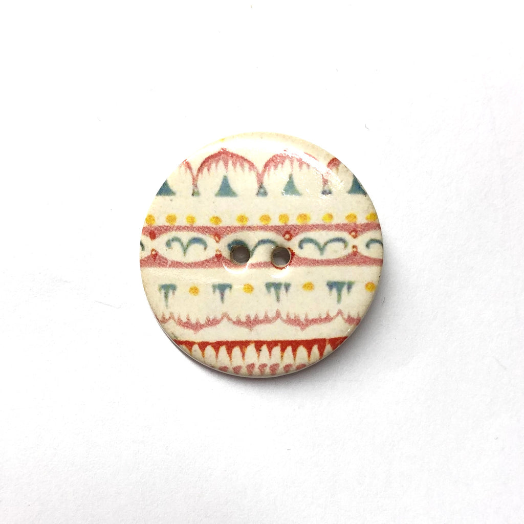 Handmade Ceramic Button Round (Warner Archive) Ethnic Pattern : Large