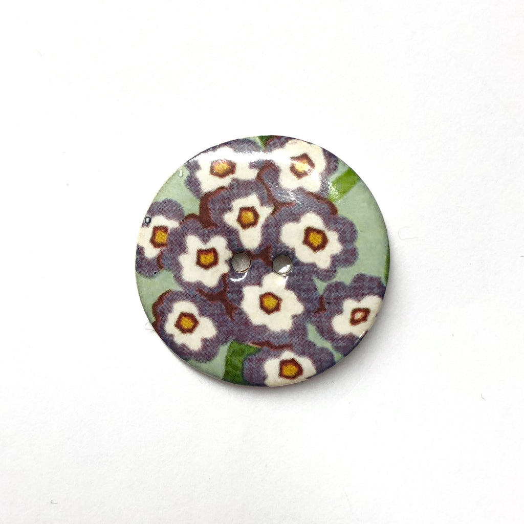 Handmade Ceramic Button Round (Warner Archive) Flowers on Pale Green : Large