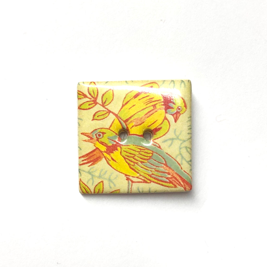 Handmade Ceramic Button Square (Warner Archive) Exotic Birds : Large