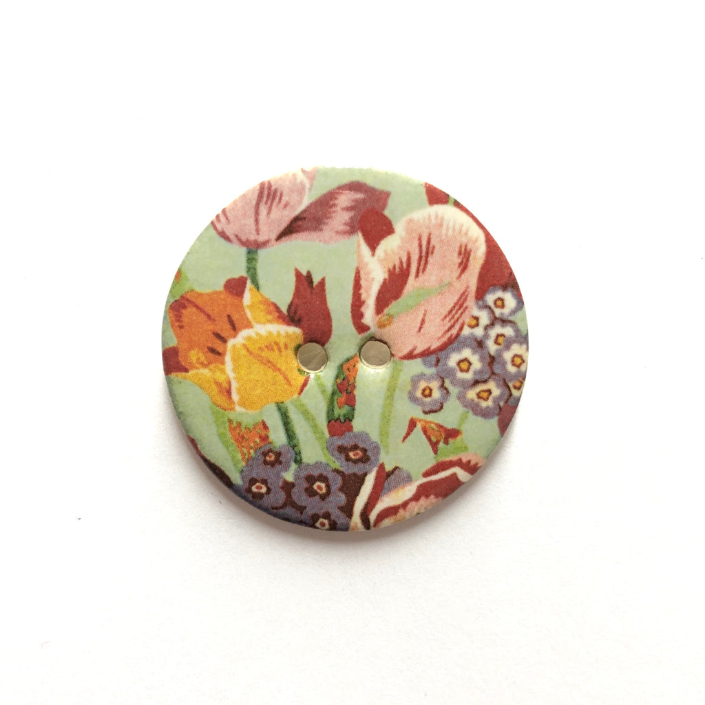 Handmade Ceramic Button Warner Archive Tulip Florals