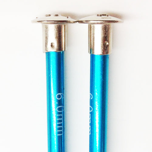 Knitting Needles ALUM 6mm x 35cm turquoise