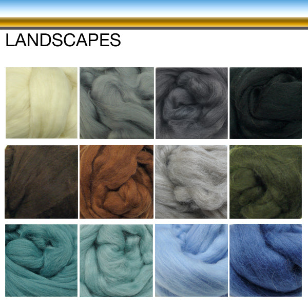 Wool tops Roving Bundle: 1200g LANDSCAPE colours - save over 10%