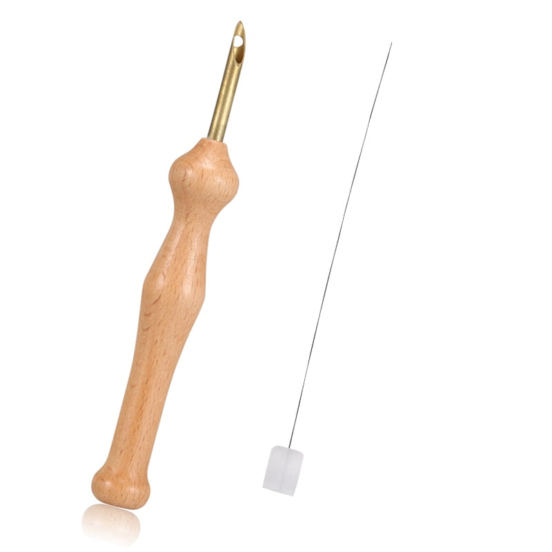 Wooden Punch Needle Craft Tool + Threader