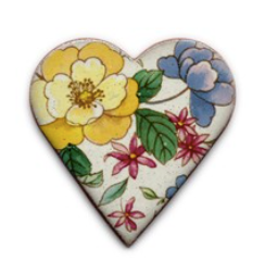 Handmade Ceramic Brooch : Large floral heart big yellow flower