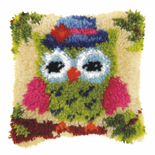 Latch Hook Kit: Cushion: Small: Green Owl