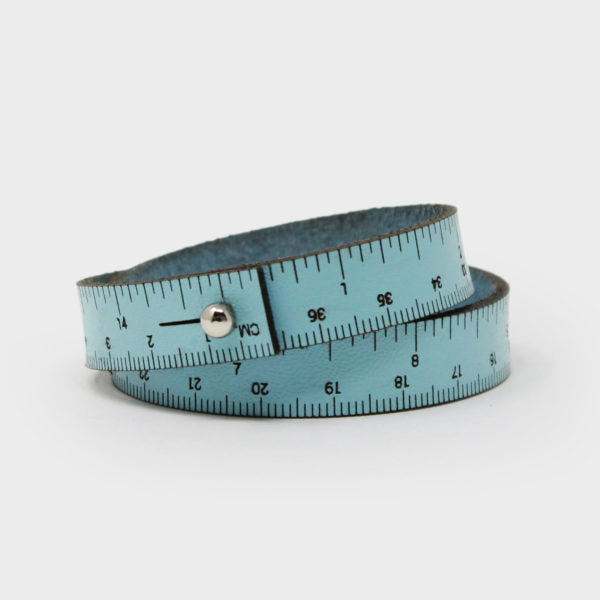 Leather Wrist Ruler Bracelet Baby Blue 16""