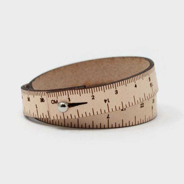 Leather Wrist Ruler Bracelet Natural 16""