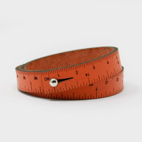 Leather Wrist Ruler Bracelet Orange 16""
