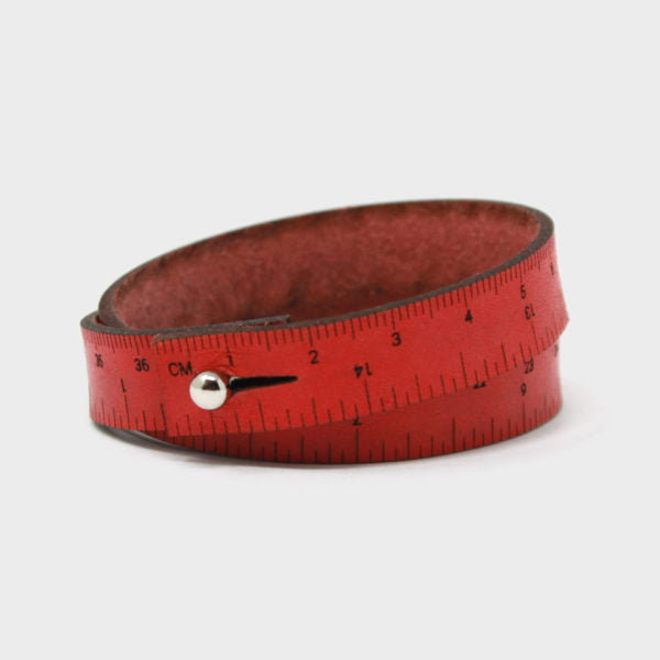 Leather Wrist Ruler Bracelet Red 16""
