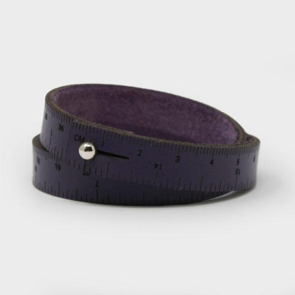 Leather Wrist Ruler Bracelet Medium Plum 16""