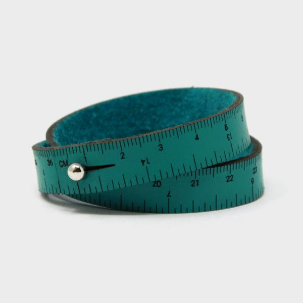 Leather Wrist Ruler Bracelet Medium Teal 16""