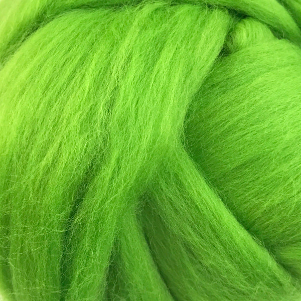 100g Lime Green Merino wool tops for felting & giant knitting