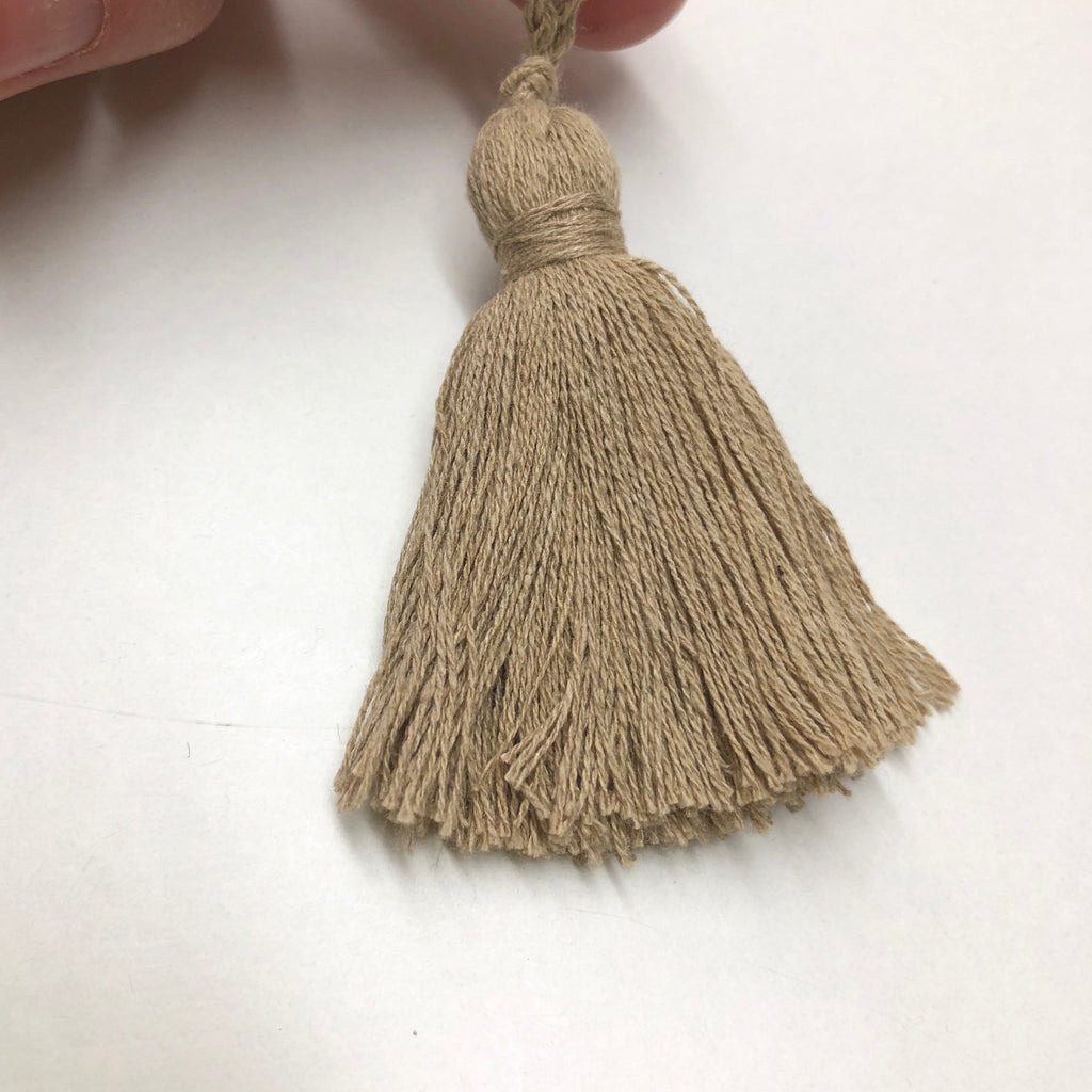 Linen Tassel 60mm (100mm inc loop) 45