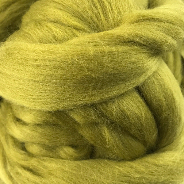 100g Mid Olive Merino wool tops for felting & giant knitting